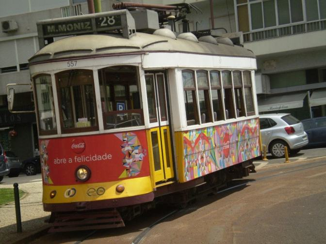 The whimsy of Lisbon is evident in the colorful trams.